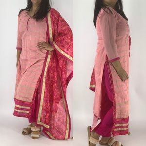 Three piece Indian outfit with long kameez pants